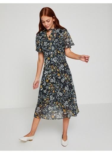 Koton Çiçekli Şifon Midi Elbise Lacivert